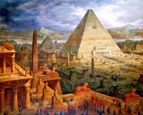 Temple Of Ancient Egypt Egyptian Pyramid Painting 8x10 Real Canvas Art Print