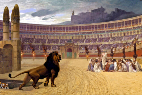 Persecuted Christian Martyrs Roman Colloseum w/ Lions Painting Canvas Art Print