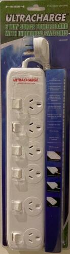 6 WAY SURGE PROTECTOR POWER BOARD WITH INDIVIDUAL SWITCHES - 6 OUTLET