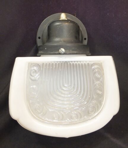 1930's Art Deco Frosted and Clear Glass Wall Sconce - Bathroom, Foyer & Outside