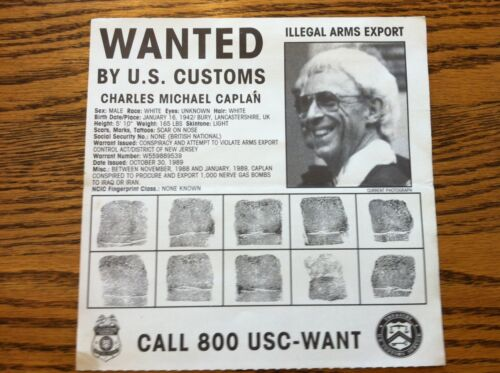 FBI WANTED U.S. CUSTOMS POSTER POSION GAS  CHARLES M CAPLAN *PLS MAKE OFFER*