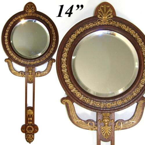 """Antique French Empire Revival Style 14"""" Hand or Vanity Mirror, Bronze, Mahoghany"""