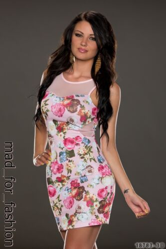 SEXY LIGHT PINK MINI DRESS IN FLORAL PRINT WITH LACE.