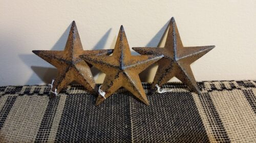 "3 Primitive Rusty 3.5"" Barn Stars - Farmhouse, Metal, Ornament, Rust, star"