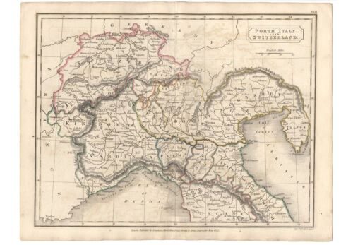 Antique Map of NORTH ITALY & SWITZERLAND by Samuel Butler 1825