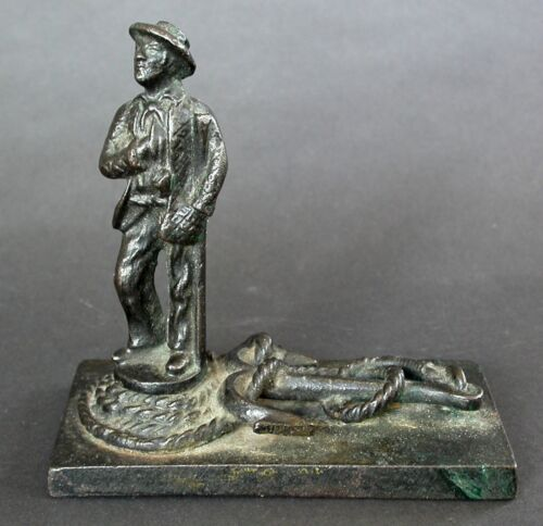 ANTIQUE CAST IRON SAILOR MAYBE WHALER WITH ROPE AND ANCHOR BASE C.1900