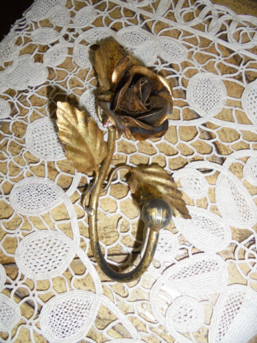 Vintage Italian Gold Tole Floral Wall/Door Hook~Shabby Cottage Decor