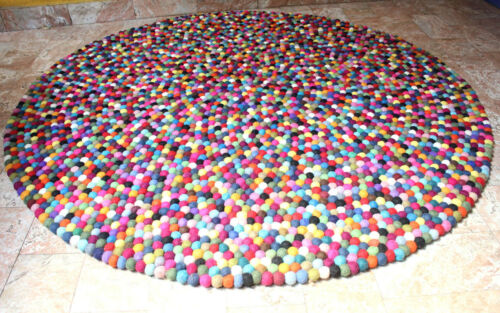 Felt Ball Rug Black Red Multicolor Area Rugs 150 cm