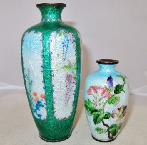 "2 Antique Japanese Ginbari Meiji Cloisonne Vases with Flowers  (6.95"" & 3.55"")"