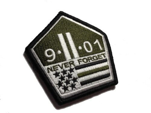 The 3x3 OD Green 9/11 NEVER FORGET PATCH Hook/loop Morale Military Twin Towers  Army - 48824