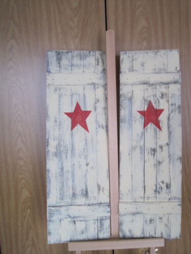 RUSTIC COUNTRY COTTAGE PRIMITIVE RED STAR SHUTTERS - SET OF 2