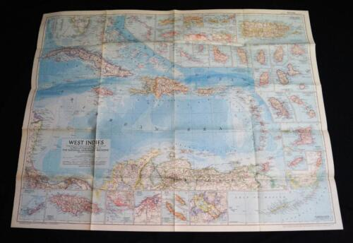 THE NATIONAL GEOGRAPHIC SOCIETY MAP WEST INDIES ISLANDS MARCH 1954 VINTAGE