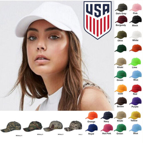 Womens Plain Baseball Cap Adjustable Solid Hat Polo Style One Size New Ballcap