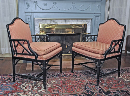 PAIR Faux BAMBOO ARMCHAIRS Ebonized Hollywood Regency CHINESE Chippendale Design