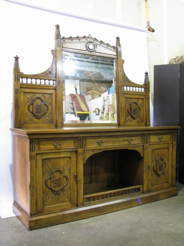1870's English Oak Gothic Revival Sideboard; Beveled Mirror & Carved Monogram