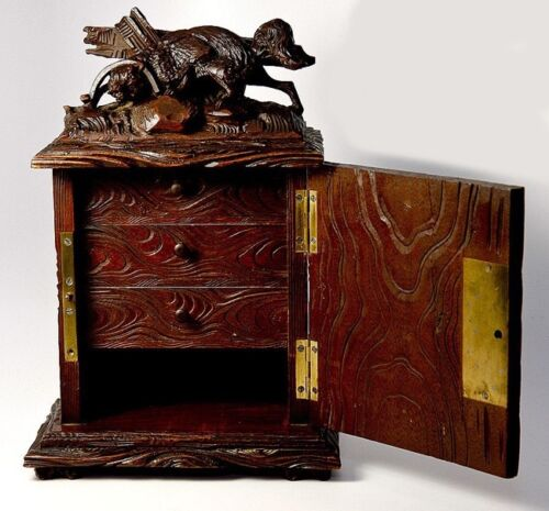 """Antique Black Forest Carved 10"""" Chest, Cabinet, Box: Animalier Style FOX in Trap"""