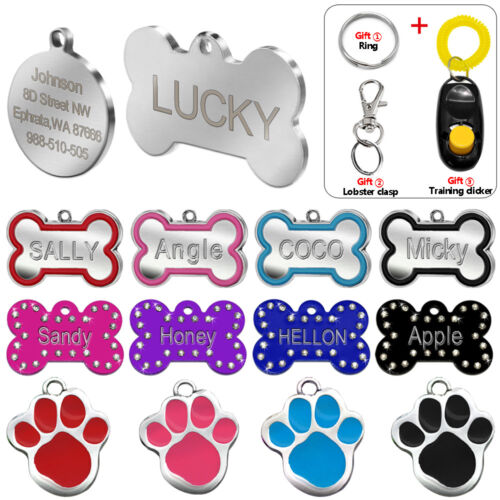 Engraved Pet Dog Tags Custom Cat ID Name Tags for Pets Personalized FREE S M L