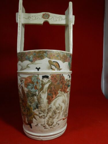Satsuma Pottery Tall  Bucket Hand Painted Figures 19th Century Japanese