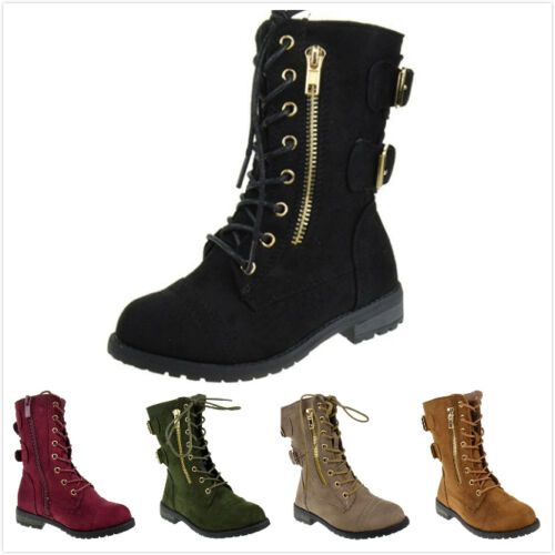 Brand New Kids Girl's Fashion Military Lace Up Ankle High Riding Combat Boots