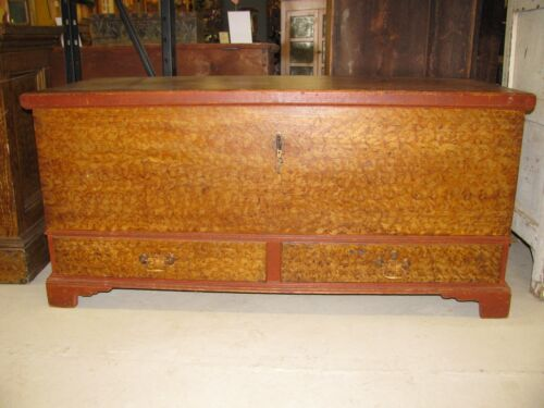 Antique Sponge Paint Decorated Pennsylvania Blanket Box Shipping Available