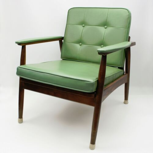 Vtg Mid Century Danish Modern MCM Lounge Arm Chair Cocktail Armchair Green