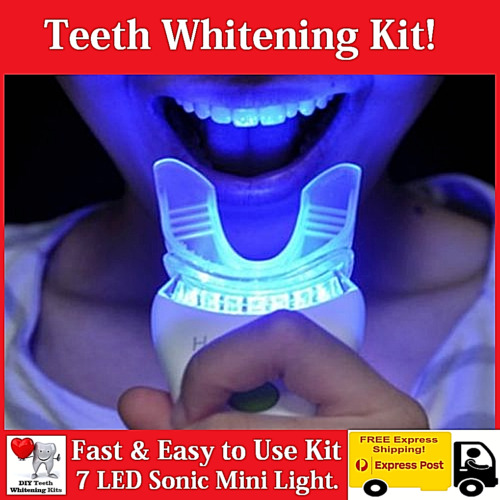 Teeth Whitening Kit - 7 LED Sonic Light - 15 Treatments - Hi Pearly White Smile <br/> Mint Flavoured Gel - Ultra Alkaline 9v battery Included