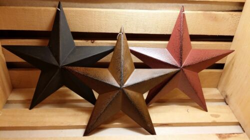 "8"" Metal Barn Stars, Set of 3 - Black, Burgundy, Rusty ~ Primitive, Country"