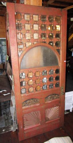 HUGE VICTORIAN OAK ENTRY DOOR WITH BEVELED GLASS AND CARVED PANELS
