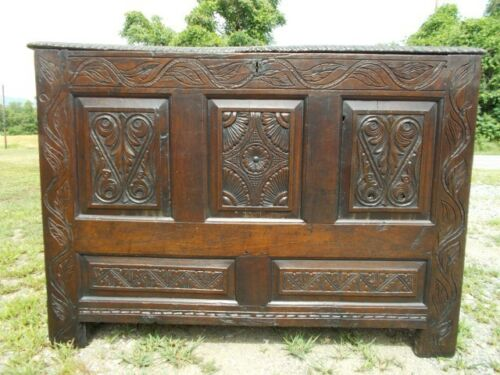 Early Hand Carved English Paneled Coffer / Trunk, 18th Century ~Central Virginia