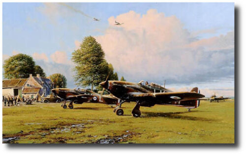 Front Line Hurricanes by Robert Taylor - Signed by Six (6) Aces! - Aviation Art