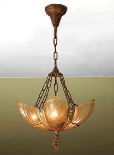 GORGEOUS! Antique LINCOLN Fleurette Slip Shade Light Fixture MINT and RESTORED!