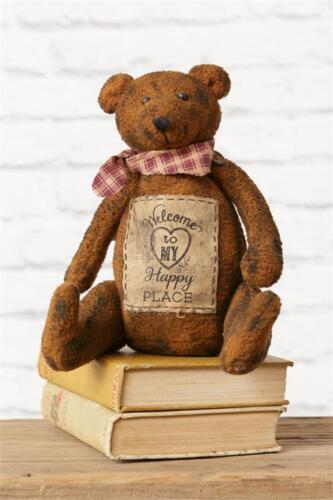 """New Primitive Grungy Folk Art WELCOME TO MY HAPPY PLACE Teddy Bear Doll 8"""""""