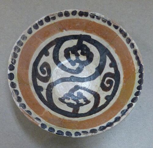 """VERY EARLY ISLAMIC CENTRAL ASIAN SLIP DECORATED 4 3/4"""" DIAMETER POTTERY BOWL"""
