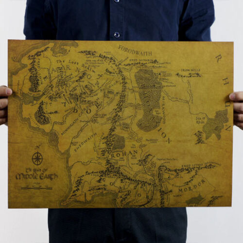 Map Of Middle Earth Lord Of The Rings HD Poster Art Print Photo Treasure Map