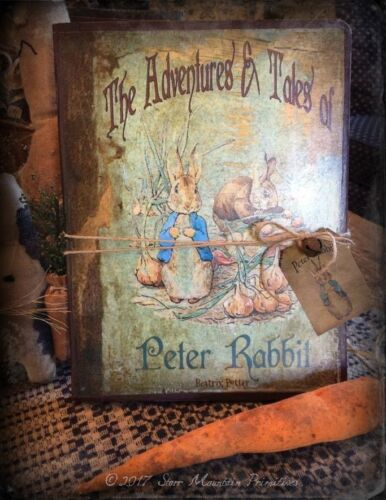 Primitive Peter Rabbit Journal Diary Cupboard Tuck Nursery Decor Collectible