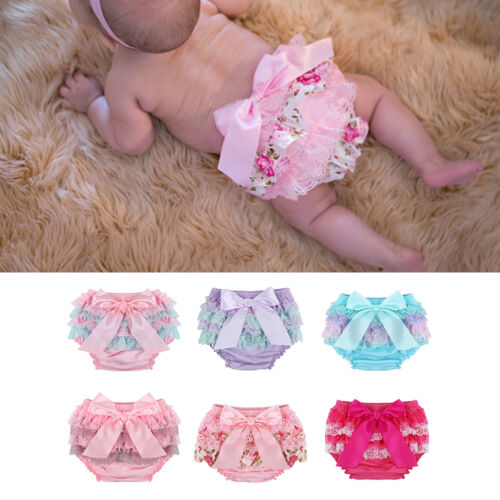 Toddler Baby Infant Girl Lace Ruffle Bloomers Nappy Underwear Panty Diaper Cover