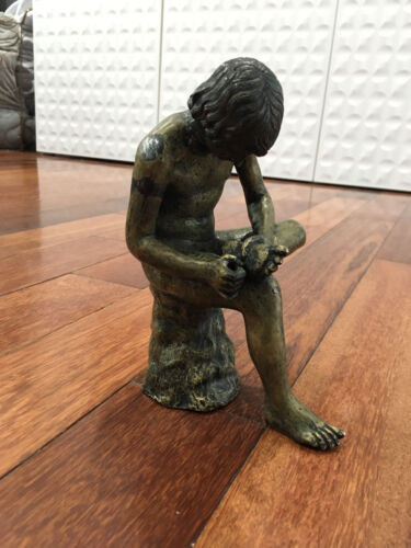 Vintage Possibly Antique Metal Sculpture Boy With Thorn Spinario Fedele