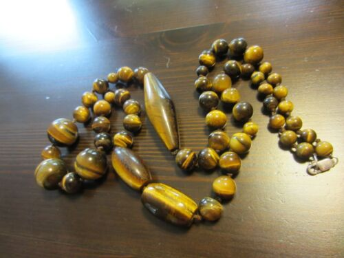 ANTIQUE CHINESE?CARVED TIGER's EYE BEADED NECKLACE DESIGNER 925 SILVER CLASP 34""