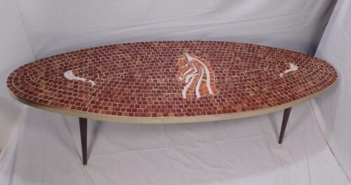 "60""Mid Century Modern Mosaic Surfboard Coffee Table Tile Horse Head eames atomic"