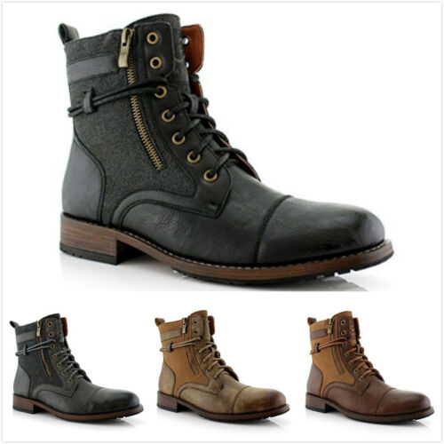 New Men's String Strap Lace up Dual Zip Casual Dress Ankle High Flat Boots Shoes