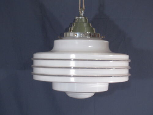 Beautiful LARGE Vintage Art Deco Light Fixture and Shade White/Nickle 1930s