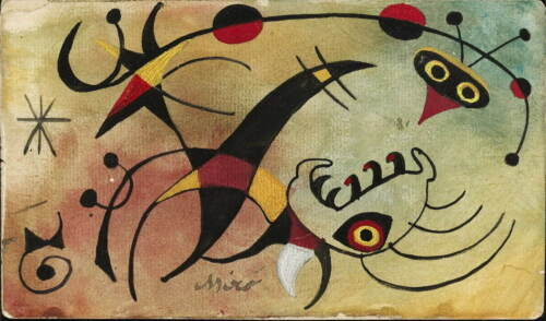 Joan Miro Le Resume Calcule Avec l'oiseau Giclee Canvas Print Paintings Poster R