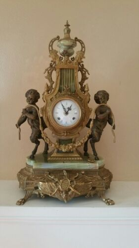 Vintage Brass & Marble Imperial Mantle Clock  - Made in Italy