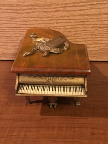 French Antique Piano Music Box Brass & Marble Working Plays