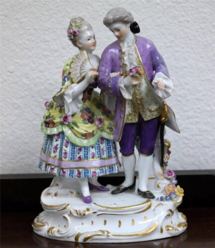 Antique Meissen Figure of Love Couple Flower Motif Circa 1890s