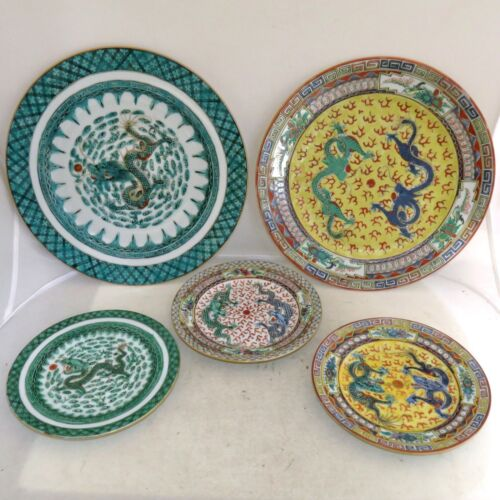 """5 Vintage Chinese Famille Rose Plates with Celestial Dragons  (10.2"""" to 6.2"""")"""