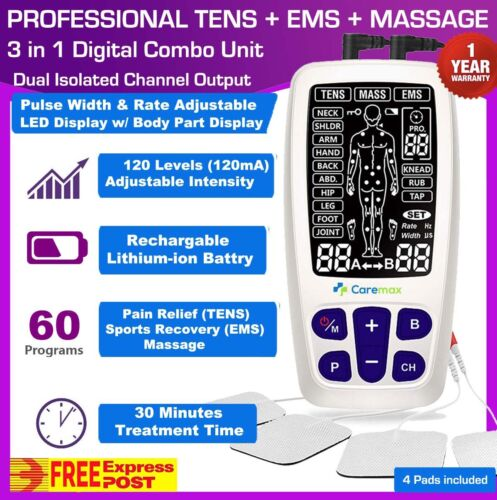 TENS Machine EMS 3 in 1 Combo Unit Pain Relief Massager LED Screen Dual Channel <br/> ✦PULSE RATE &WIDTH: ADJUSTABLE✦LCD DISPLAY✦FREE EXPRESS