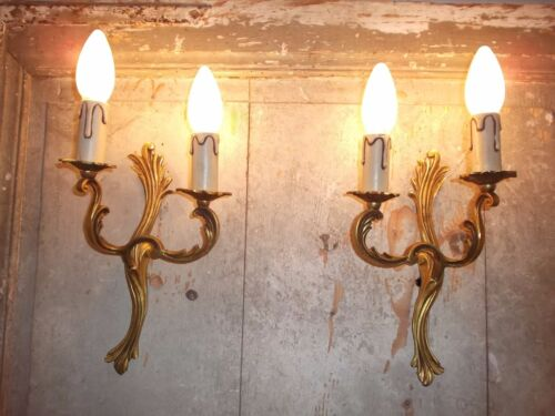 French a pair of gold patina bronze wall light sconces beautiful antique