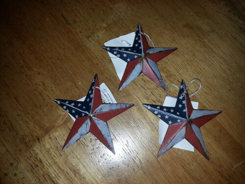 "Set of 12 Primitive Americana 3.5"" Barn Stars - Star, Crafting, Ornaments"