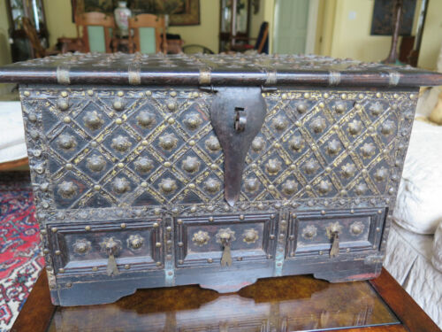 Large Antique Box Southeast Asia Dark Wood and Studs 3 Drawer 19""